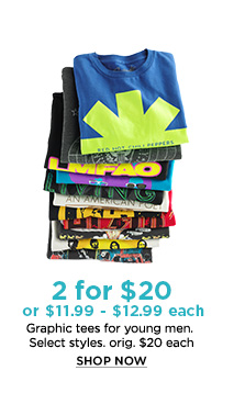 2 for $20 or $11.99 - $12.99 each - Graphic tees for young men. - 