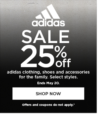 Adidas sale. 25% off. Offers and coupons do not apply.