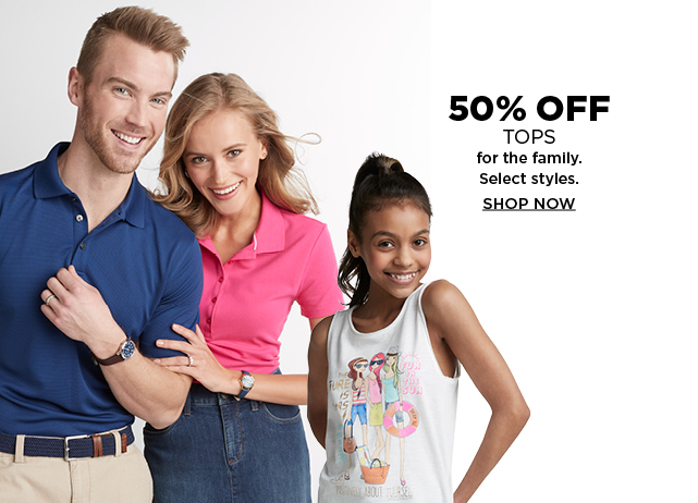 50% off select tops for the family. Shop now.
