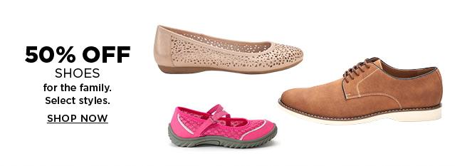 50% off shoes for the family. Select styles. Shop now.