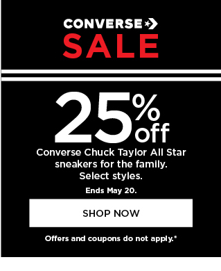 25% off select converse shoes for the family. shop now.