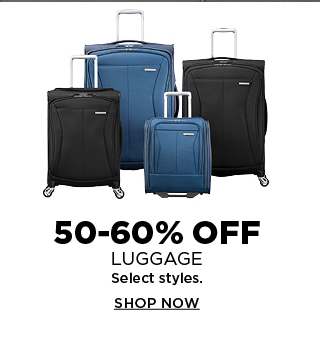 50 to 60% off luggage. Select styles. Shop now.