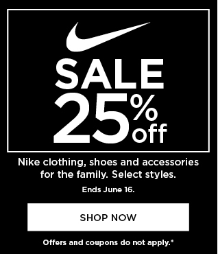 25% off Nike for the family. Select styles. Shop now.