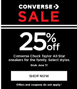 25% off Converse shoes for the family. Select styles. Offers and coupons do not apply. Shop now.