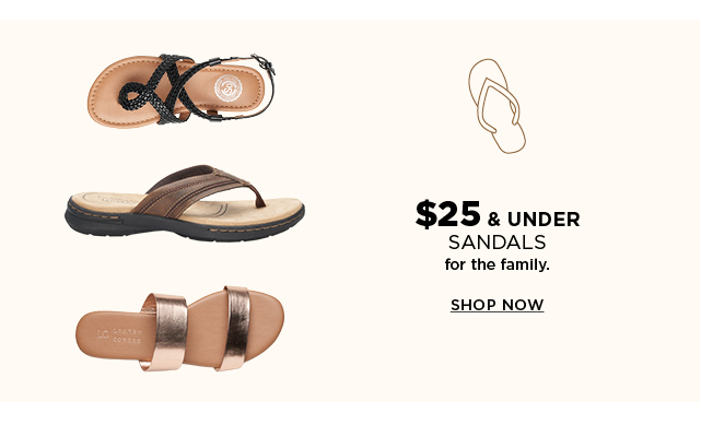$25 & under sandals for the family. Shop now.