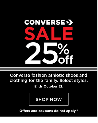 save 25% on Converse. offers and coupons do not apply. shop now.
