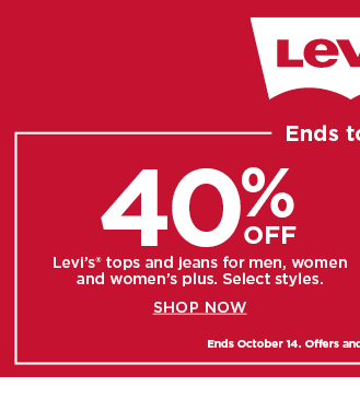 40% off tops and jeans for men, women and women's plus.  shop now.