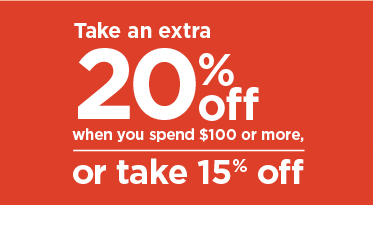 take an extra 20% when you spend $100 or more or take 15% off using promo code GR8BUY. shop now.