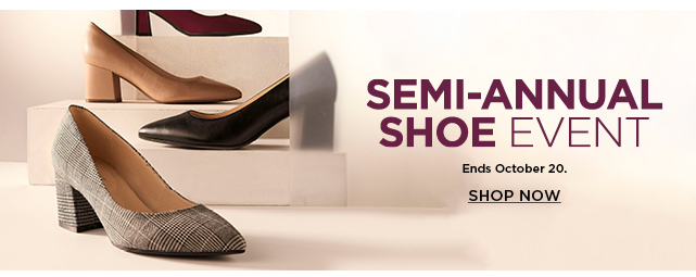semi annual shoe event.  shop now.
