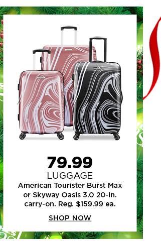 79.99 american tourister burst max or skyway oasis 3.0 20-inch carry-on luggage. regularly $159.99 each. shop now.