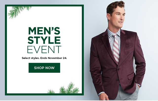 mens style event.  shop now.