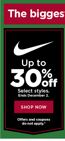 up to 30% off nike. shop now.