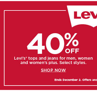 40% off levis tops and jeans for men, women and plus. shop now.