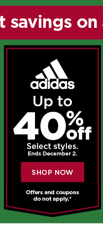 up to 40% off adidas. shop now.