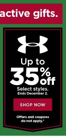 up to 35% off under armour. shop now.