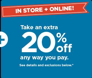 take an extra 20% off using promo code TWENTY4U. shop now.