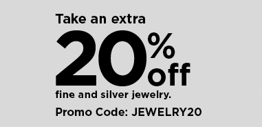 take an extra 20% off fine and silver jewelry using promo code JEWELRY20. shop now,