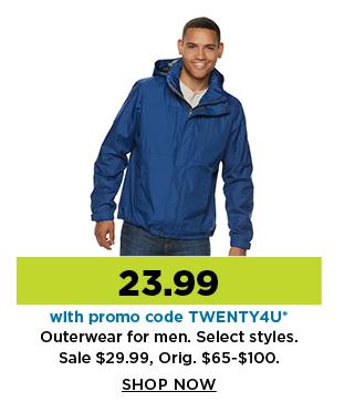 23.99 outerwear for men. shop now.