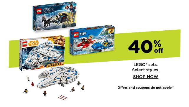 40% off lego sets. shop now.