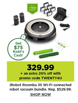329.99 irobot roomba e5 wifi robot vacuum bundle. shop now.
