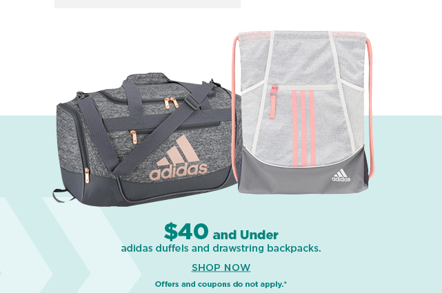 $40 and under adidas duffels and drawstring backpacks.  shop now.