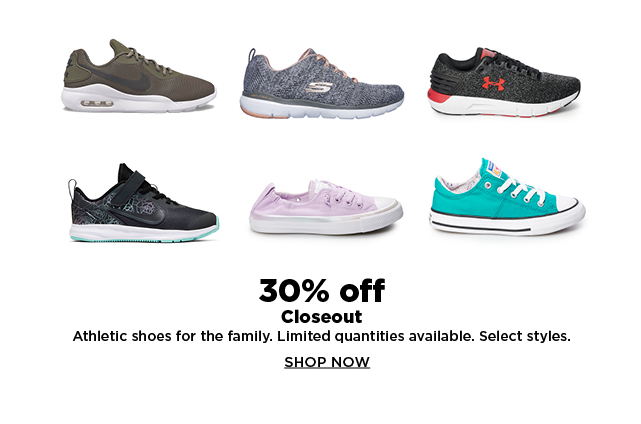 30% off closeout athletic shoes for the family.  shop now.