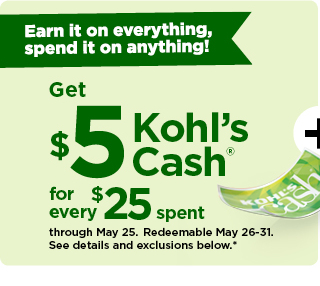 everyone gets $5 kohls cash for every $25 spent. shop now.