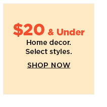 $20 and under home decor.  shop now.